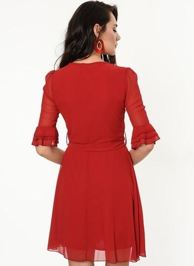 İroni V Yaka Şifon Elbise Kırmızı